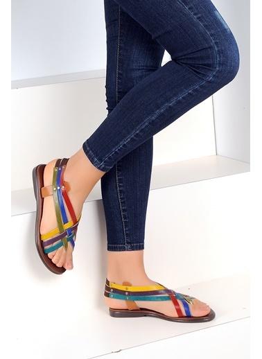Pembe Potin A2105-19 Kadın Sandalet Renkli